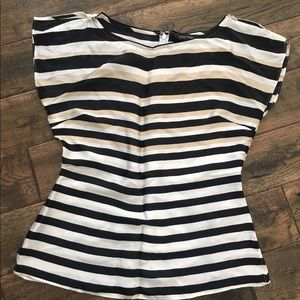 WHBM silk striped top - butterfly sleeves 🦋 Small